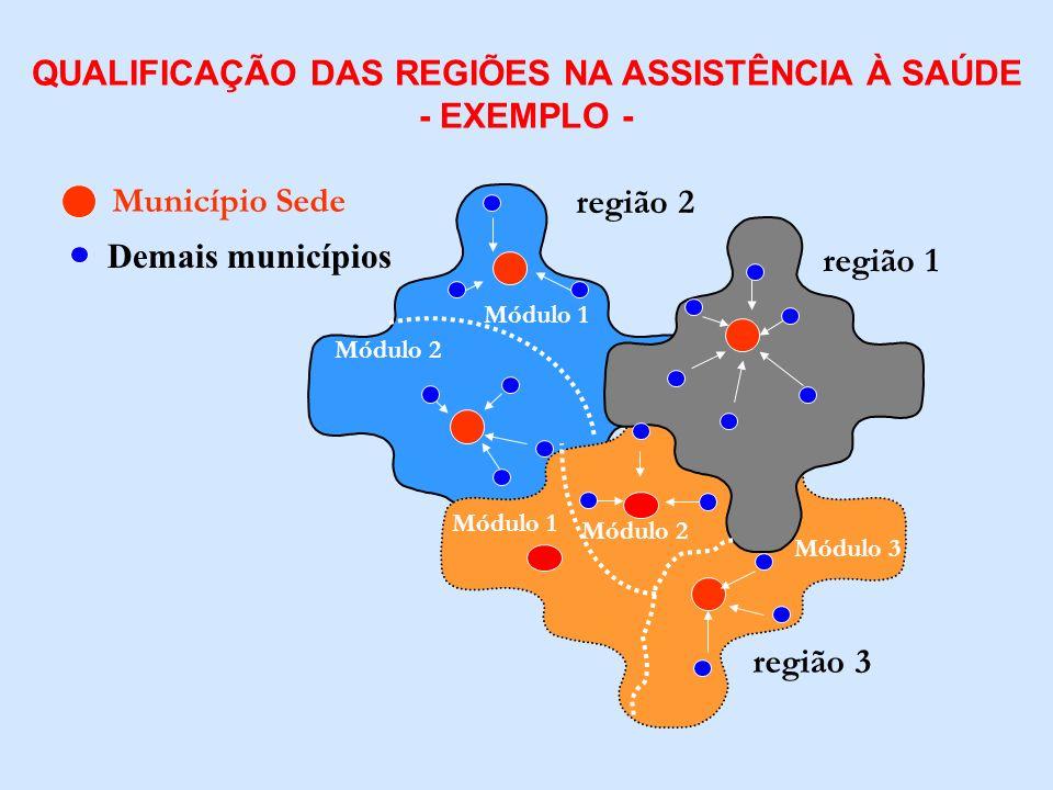 região 1 região 2 região 3 Município Sede Módulo 1 QUALIFICAÇÃO DAS REGIÕES NA ASSISTÊNCIA À SAÚDE - EXEMPLO - Demais municípios Módulo 2 Módulo 1 Mód