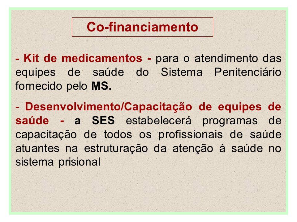 - Kit de medicamentos - para o atendimento das equipes de saúde do Sistema Penitenciário fornecido pelo MS. - Desenvolvimento/Capacitação de equipes d