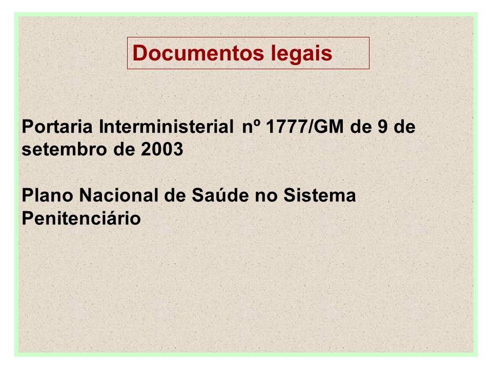 Portaria Interministerial nº 1777/GM de 9 de setembro de 2003 Plano Nacional de Saúde no Sistema Penitenciário Documentos legais