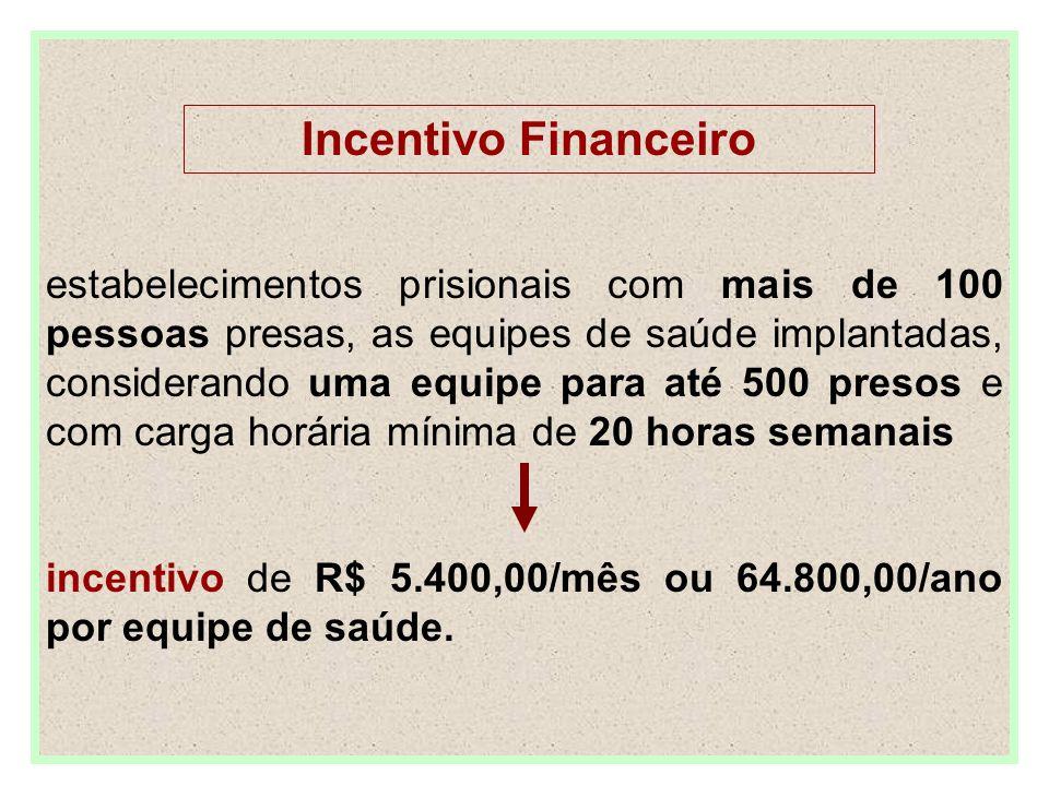 Incentivo Financeiro estabelecimentos prisionais com mais de 100 pessoas presas, as equipes de saúde implantadas, considerando uma equipe para até 500 presos e com carga horária mínima de 20 horas semanais incentivo de R$ 5.400,00/mês ou 64.800,00/ano por equipe de saúde.