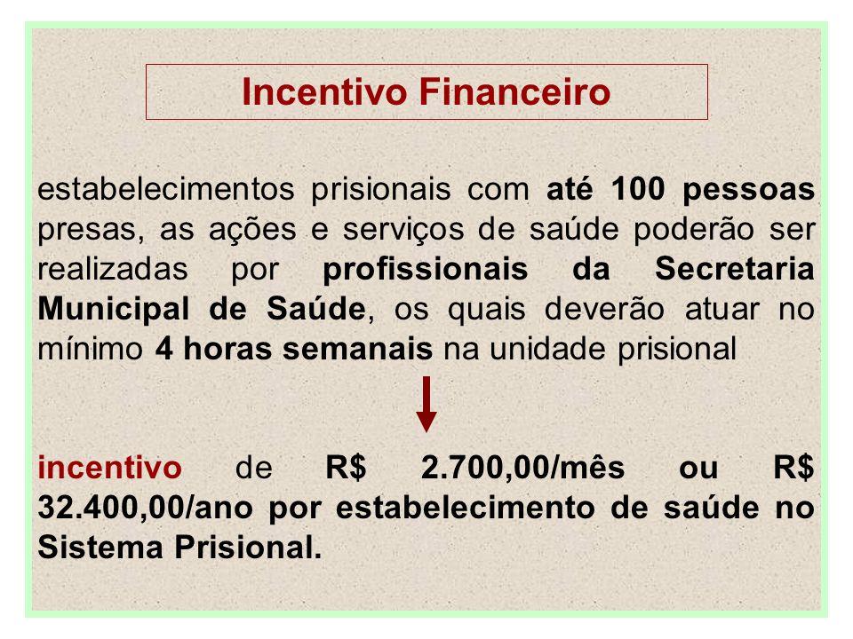 Incentivo Financeiro estabelecimentos prisionais com até 100 pessoas presas, as ações e serviços de saúde poderão ser realizadas por profissionais da