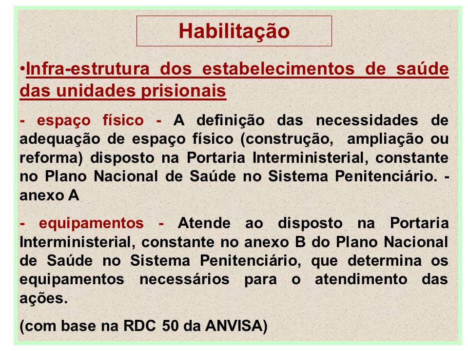 Habilitação Infra-estrutura dos estabelecimentos de saúde das unidades prisionais - espaço físico - A definição das necessidades de adequação de espaç