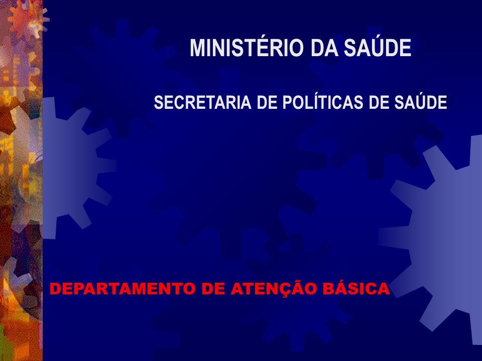 MINISTÉRIO DA SAÚDE SECRETARIA DE POLÍTICAS DE SAÚDE DEPARTAMENTO DE ATENÇÃO BÁSICA