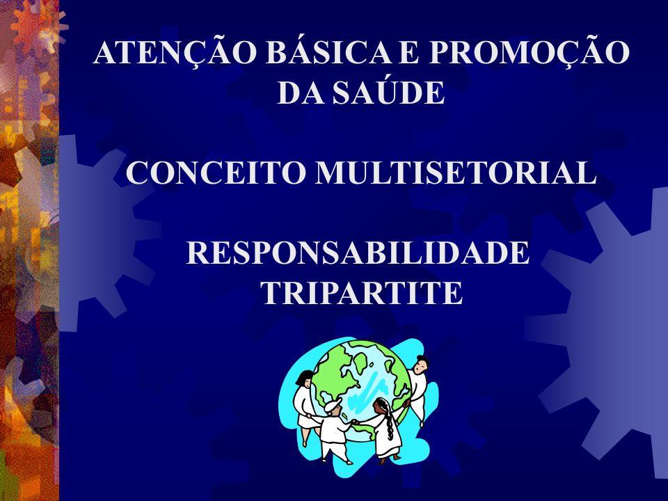 ATENÇÃO BÁSICA E PROMOÇÃO DA SAÚDE CONCEITO MULTISETORIAL RESPONSABILIDADE TRIPARTITE