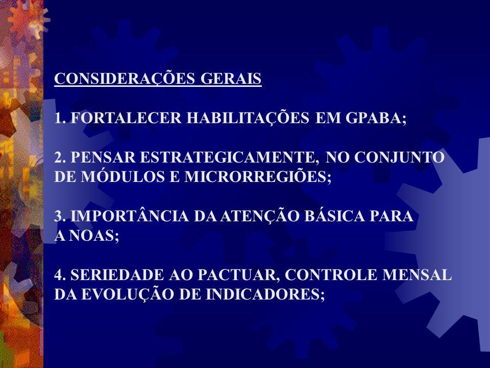 CONSIDERAÇÕES GERAIS 1. FORTALECER HABILITAÇÕES EM GPABA; 2. PENSAR ESTRATEGICAMENTE, NO CONJUNTO DE MÓDULOS E MICRORREGIÕES; 3. IMPORTÂNCIA DA ATENÇÃ