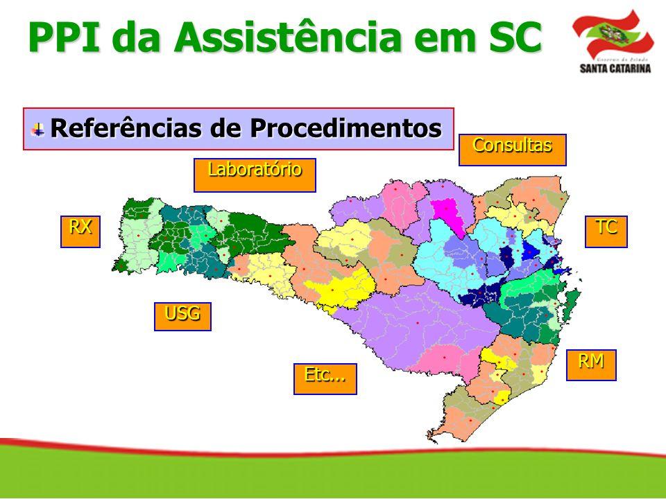 Consultas Laboratório USG RX Etc... TC RM Referências de Procedimentos PPI da Assistência em SC