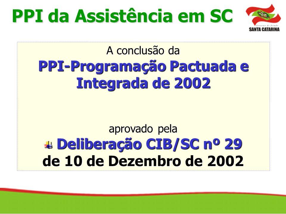 A conclusão da PPI-Programação Pactuada e Integrada de 2002 aprovado pela Deliberação CIB/SC nº 29 Deliberação CIB/SC nº 29 de 10 de Dezembro de 2002