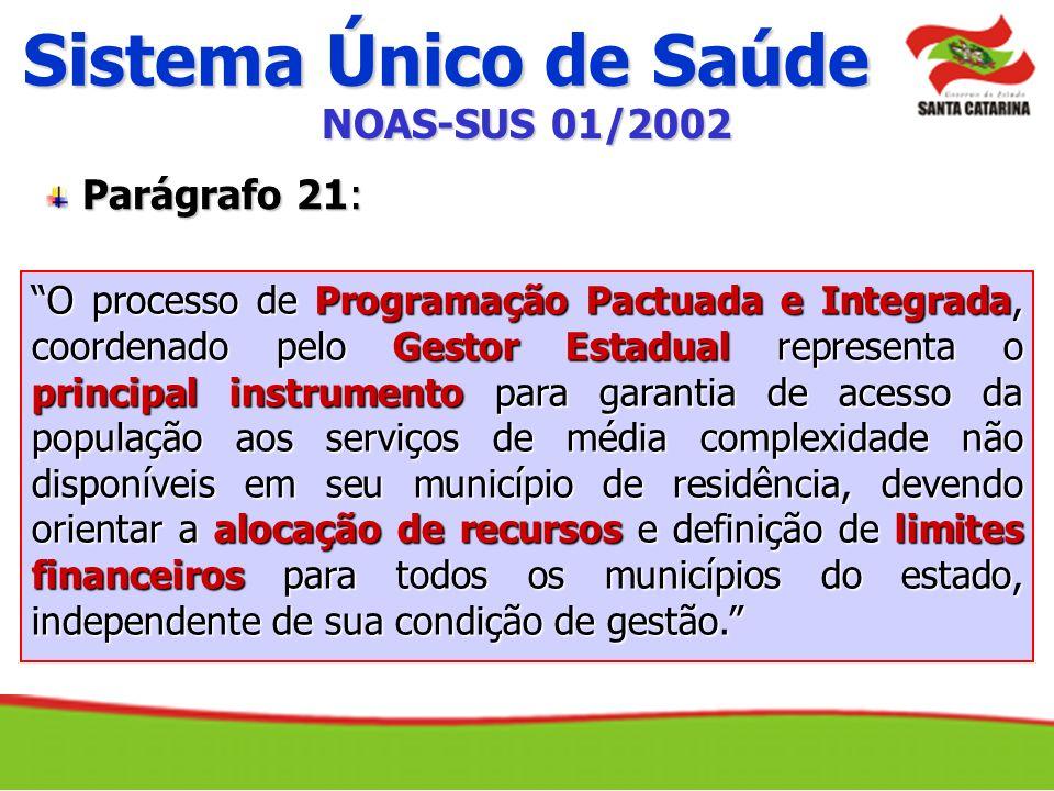 Sistema Único de Saúde O processo de Programação Pactuada e Integrada, coordenado pelo Gestor Estadual representa o principal instrumento para garanti