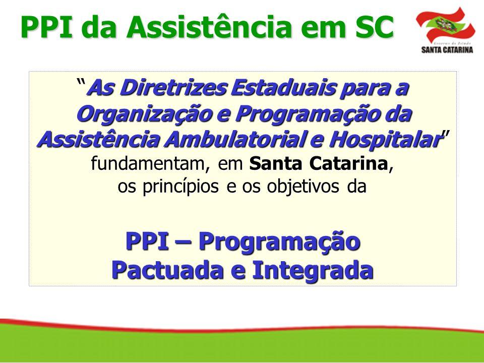PPI da Assistência em SC As Diretrizes Estaduais para aAs Diretrizes Estaduais para a Organização e Programação da Assistência Ambulatorial e Hospital