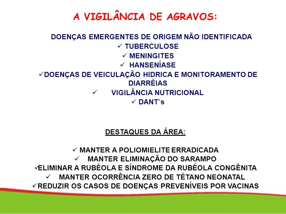 A VIGILÂNCIA DE AGRAVOS: DOENÇAS EMERGENTES DE ORIGEM NÃO IDENTIFICADA TUBERCULOSE MENINGITES HANSENÍASE DOENÇAS DE VEICULAÇÃO HIDRICA E MONITORAMENTO
