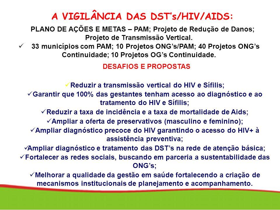 A VIGILÂNCIA DAS DSTs/HIV/AIDS: DESAFIOS E PROPOSTAS Promover a equidade: redução das diferenças regionais; Reduzir a transmissão vertical do HIV e Sí