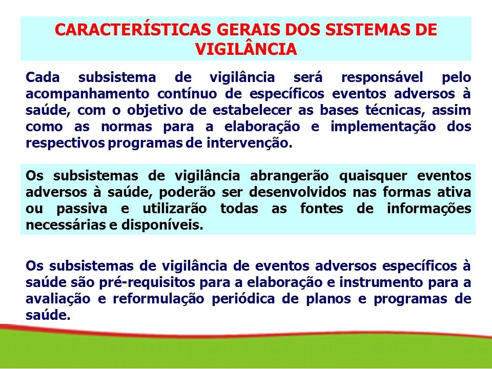 CARACTERÍSTICAS GERAIS DOS SISTEMAS DE VIGILÂNCIA Cada subsistema de vigilância será responsável pelo acompanhamento contínuo de específicos eventos a