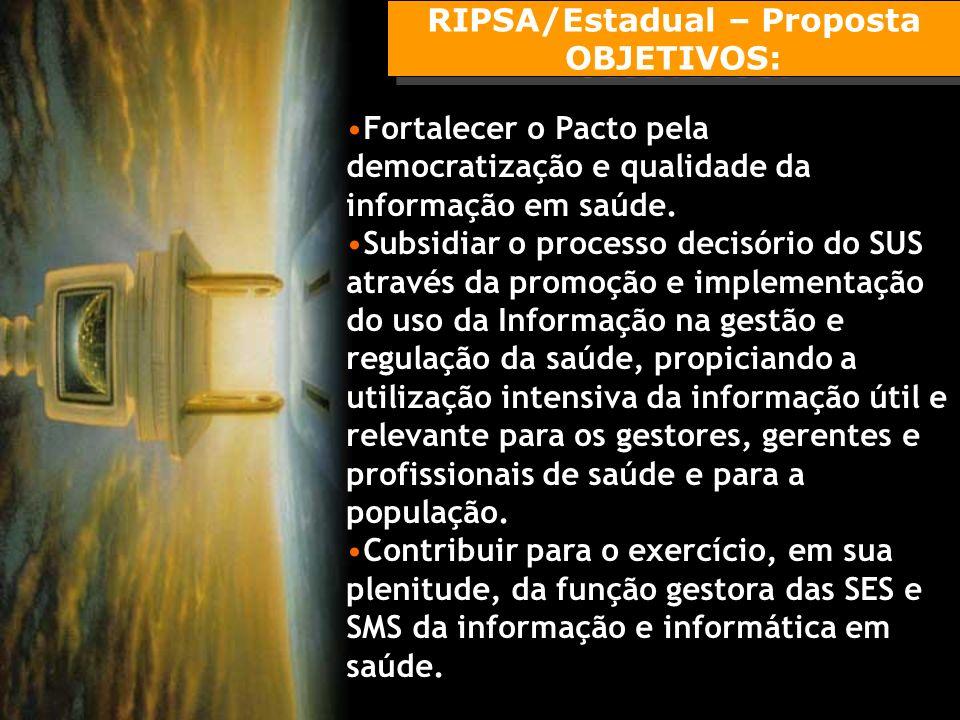 RIPSA/Estadual – Proposta OBJETIVOS: RIPSA/Estadual – Proposta OBJETIVOS: Fortalecer o Pacto pela democratização e qualidade da informação em saúde.