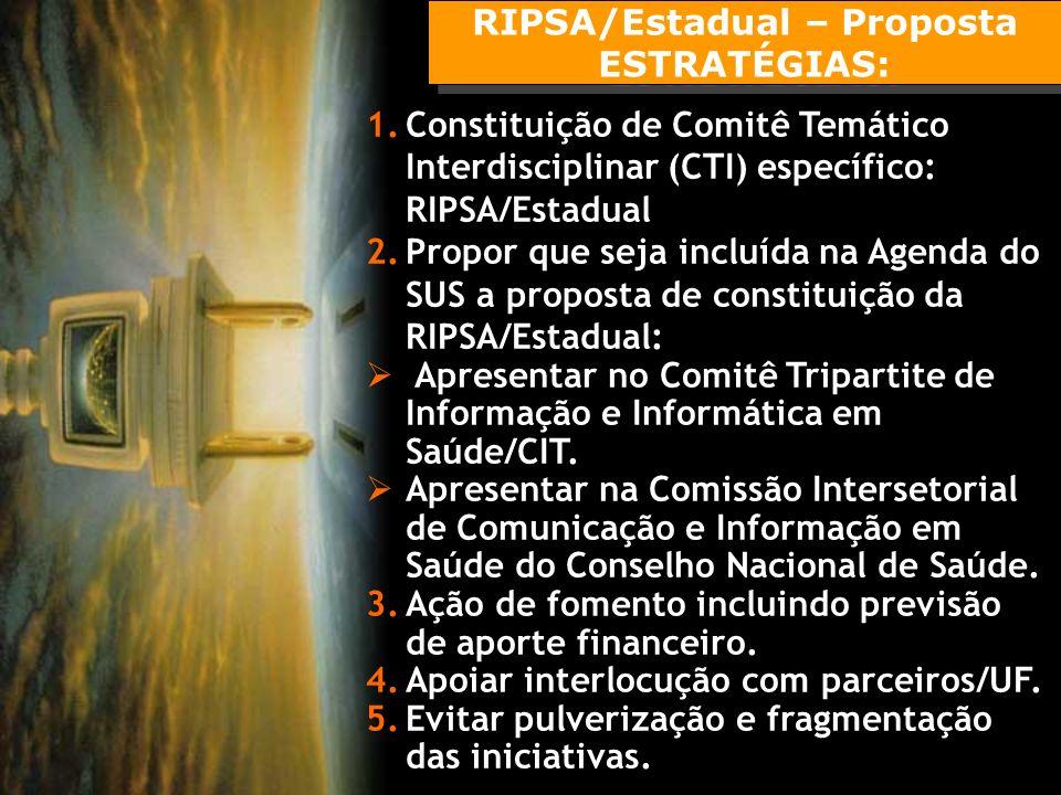 RIPSA/Estadual – Proposta ESTRATÉGIAS: RIPSA/Estadual – Proposta ESTRATÉGIAS: 1.Constituição de Comitê Temático Interdisciplinar (CTI) específico: RIPSA/Estadual 2.Propor que seja incluída na Agenda do SUS a proposta de constituição da RIPSA/Estadual: Apresentar no Comitê Tripartite de Informação e Informática em Saúde/CIT.