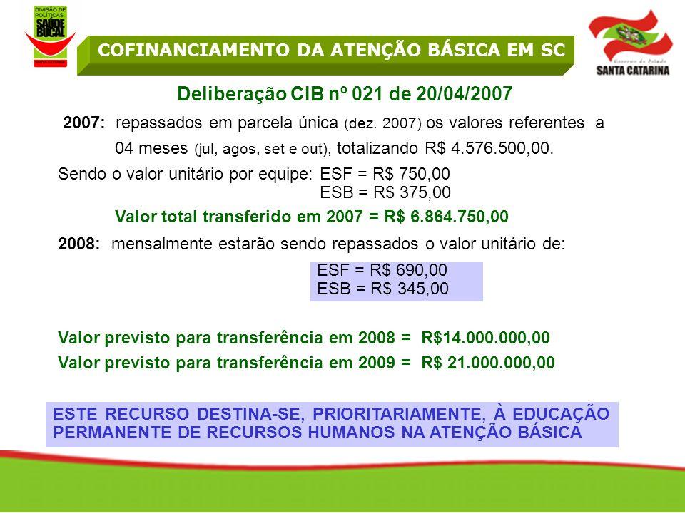 Deliberação CIB nº 021 de 20/04/2007 2007: repassados em parcela única (dez.