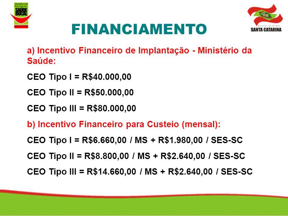 a) Incentivo Financeiro de Implantação - Ministério da Saúde: CEO Tipo I = R$40.000,00 CEO Tipo II = R$50.000,00 CEO Tipo III = R$80.000,00 b) Incentivo Financeiro para Custeio (mensal): CEO Tipo I = R$6.660,00 / MS + R$1.980,00 / SES-SC CEO Tipo II = R$8.800,00 / MS + R$2.640,00 / SES-SC CEO Tipo III = R$14.660,00 / MS + R$2.640,00 / SES-SC FINANCIAMENTO