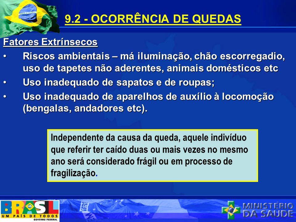 9.2 - OCORRÊNCIA DE QUEDAS Fatores Extrínsecos Riscos ambientais – má iluminação, chão escorregadio, uso de tapetes não aderentes, animais domésticos