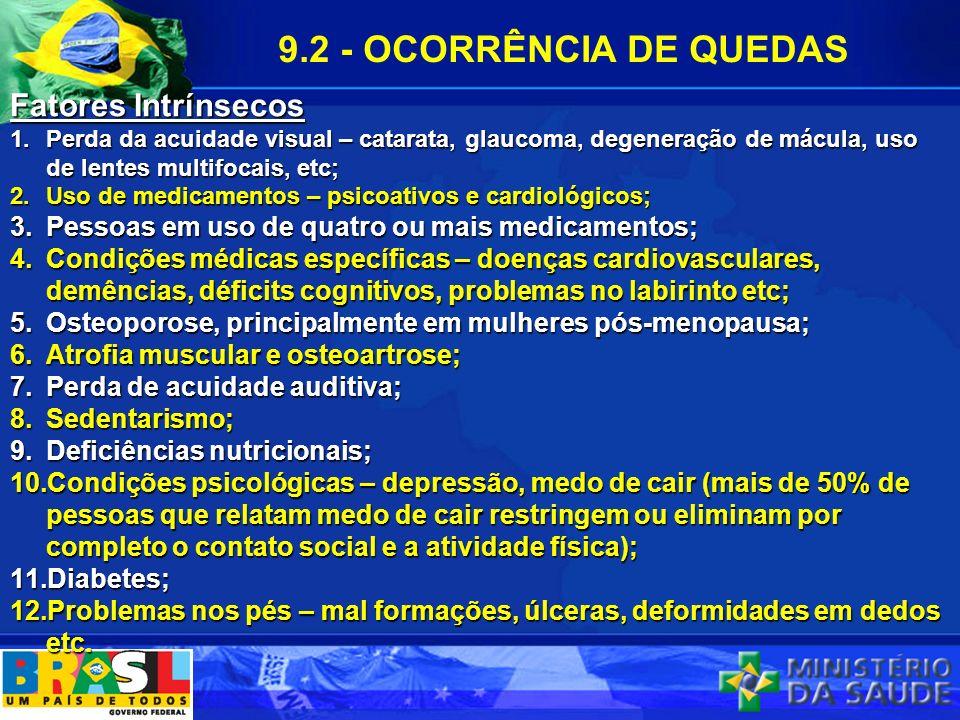 9.2 - OCORRÊNCIA DE QUEDAS Fatores Intrínsecos 1.Perda da acuidade visual – catarata, glaucoma, degeneração de mácula, uso de lentes multifocais, etc;