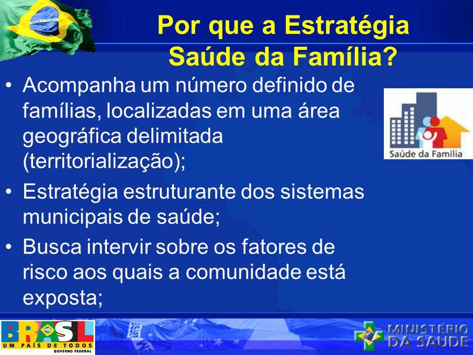 Por que a Estratégia Saúde da Família? Acompanha um número definido de famílias, localizadas em uma área geográfica delimitada (territorialização); Es