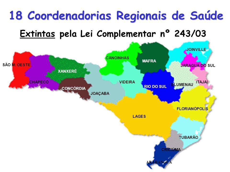 18 Coordenadorias Regionais de Saúde JOAÇABA CONCÓRDIA XANXERÊ LAGES FLORIANÓPOLIS ARARANGUÁ SÃO M. OESTE CHAPECÓVIDEIRA CANOINHAS RIO DO SUL BLUMENAU