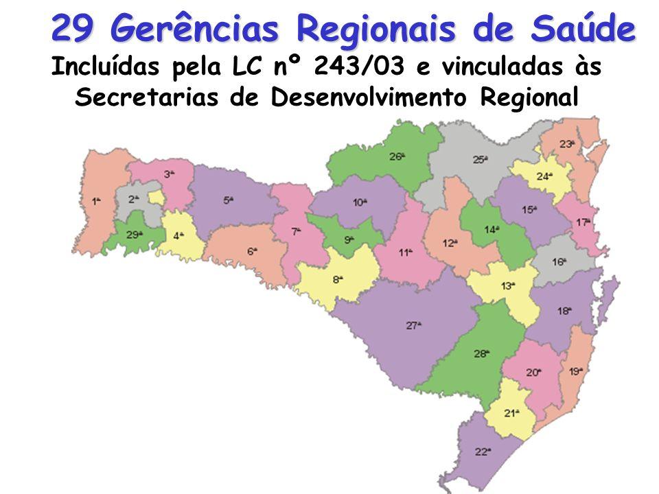 29 Gerências Regionais de Saúde Incluídas pela LC nº 243/03 e vinculadas às Secretarias de Desenvolvimento Regional