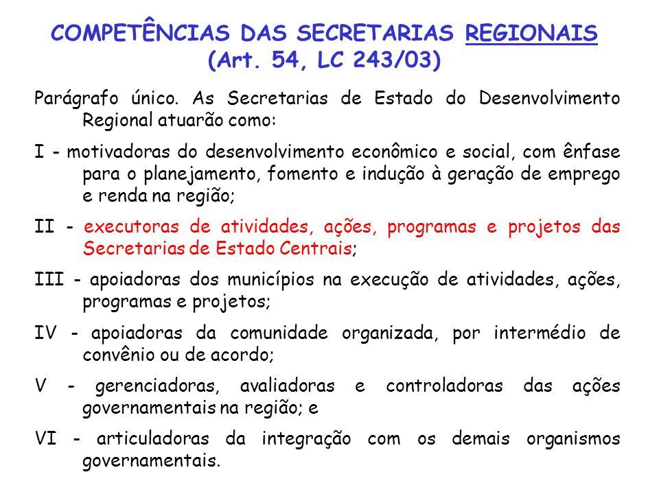 Parágrafo único. As Secretarias de Estado do Desenvolvimento Regional atuarão como: I - motivadoras do desenvolvimento econômico e social, com ênfase