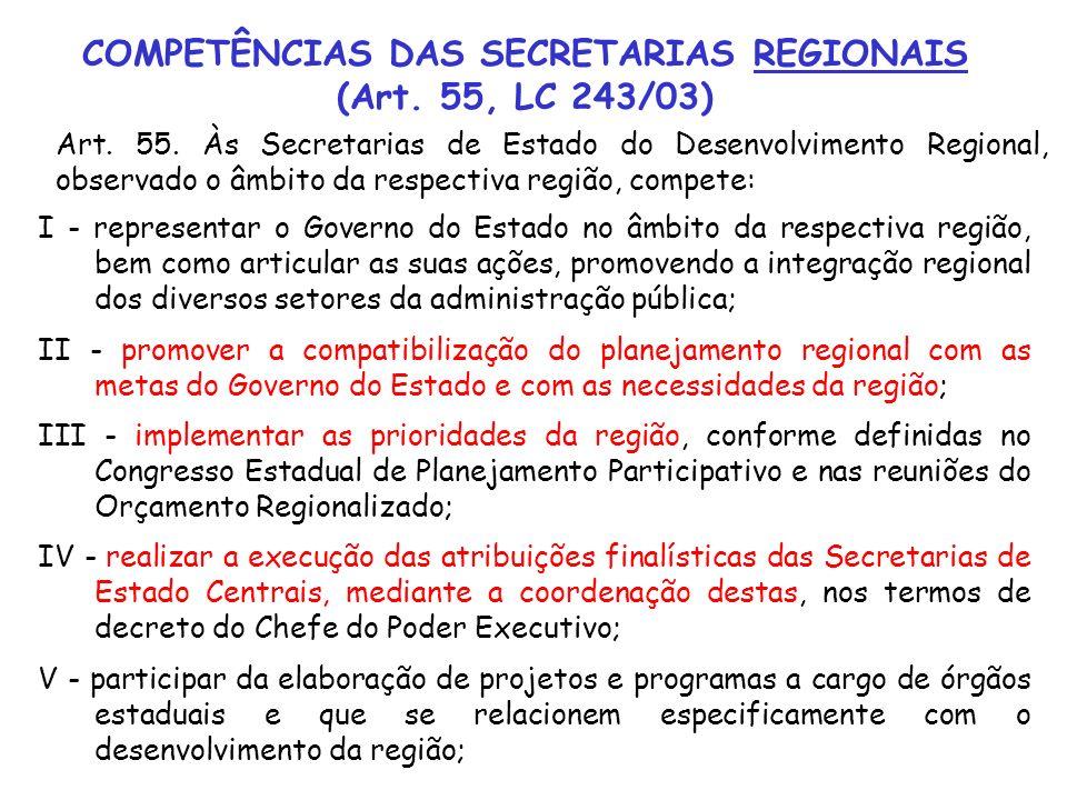 Art. 55. Às Secretarias de Estado do Desenvolvimento Regional, observado o âmbito da respectiva região, compete: COMPETÊNCIAS DAS SECRETARIAS REGIONAI