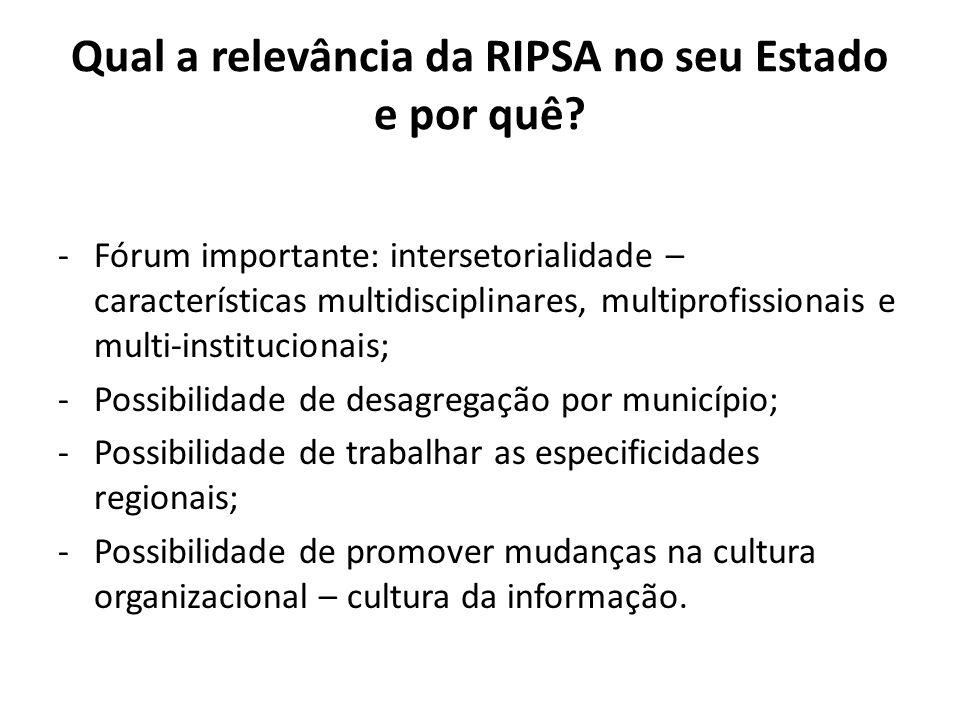 Qual a relevância da RIPSA no seu Estado e por quê? -Fórum importante: intersetorialidade – características multidisciplinares, multiprofissionais e m