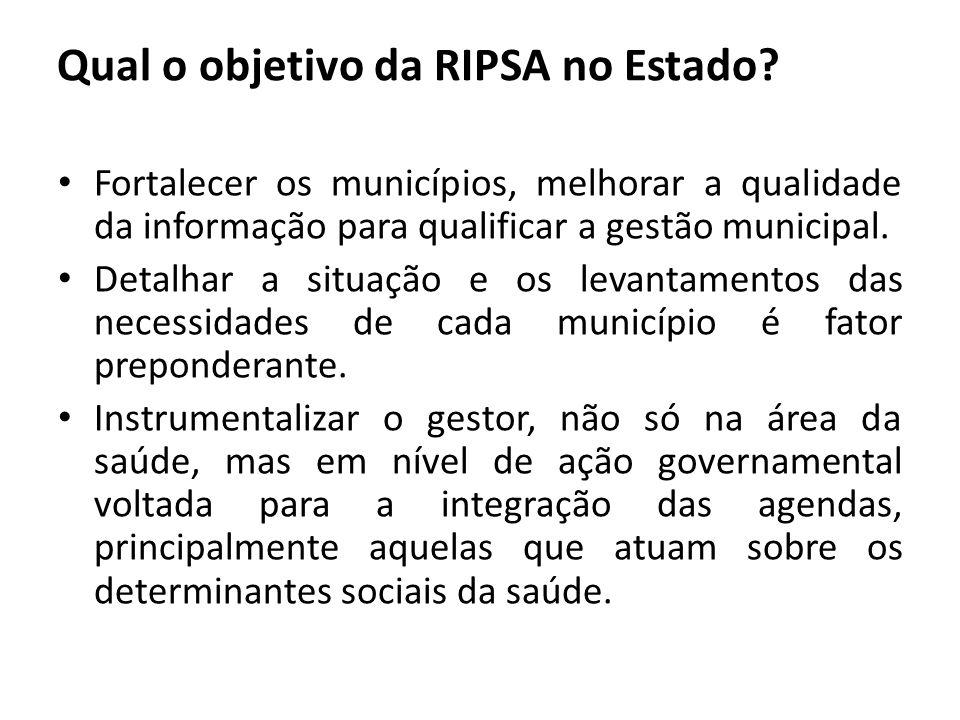 Qual o objetivo da RIPSA no Estado? Fortalecer os municípios, melhorar a qualidade da informação para qualificar a gestão municipal. Detalhar a situaç