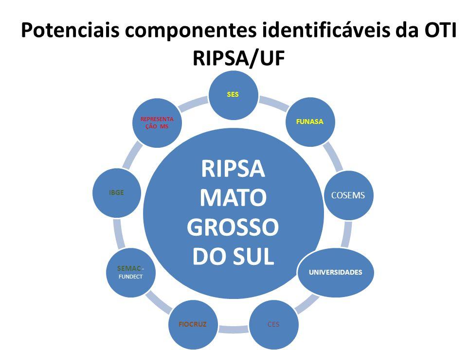 Potenciais componentes identificáveis da OTI RIPSA/UF RIPSA MATO GROSSO DO SUL SESFUNASA COSEMS UNIVERSIDADESCESFIOCRUZ SEMAC - FUNDECT IBGE REPRESENT