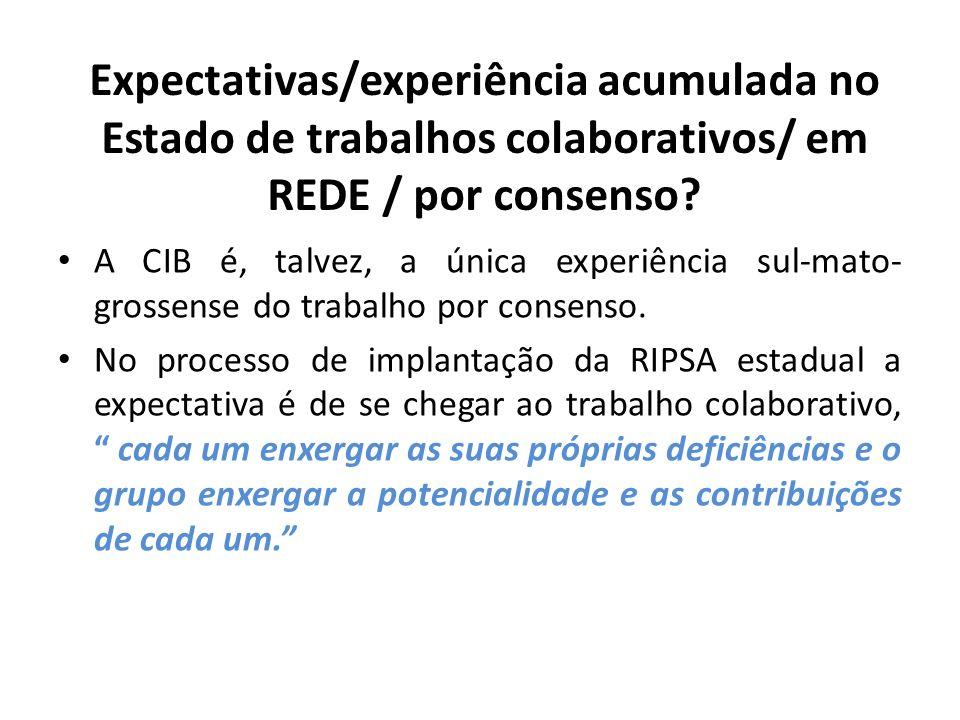 Expectativas/experiência acumulada no Estado de trabalhos colaborativos/ em REDE / por consenso? A CIB é, talvez, a única experiência sul-mato- grosse