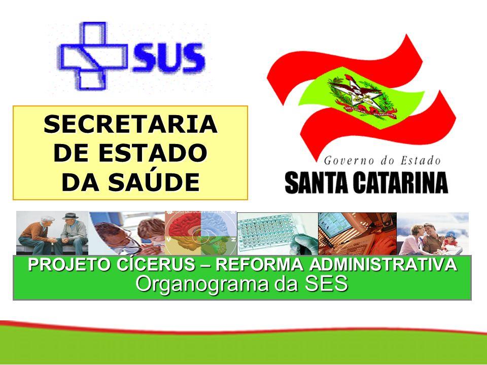 PROJETO CÍCERUS – REFORMA ADMINISTRATIVA Organograma da SES SECRETARIA DE ESTADO DA SAÚDE