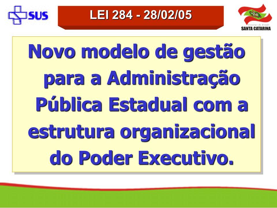 Novo modelo de gestão para a Administração Pública Estadual com a estrutura organizacional do Poder Executivo. LEI 284 - 28/02/05