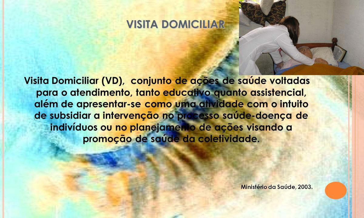 VISITA DOMICILIAR VISITA DOMICILIAR A maior parte da população beneficiada pelas visitas domiciliares, são os pacientes acamados ou idosos com doenças crônicas que encontram-se impossibilitados ou com dificuldade de deslocamento até os centro de atendimento e a unidade de saúde.