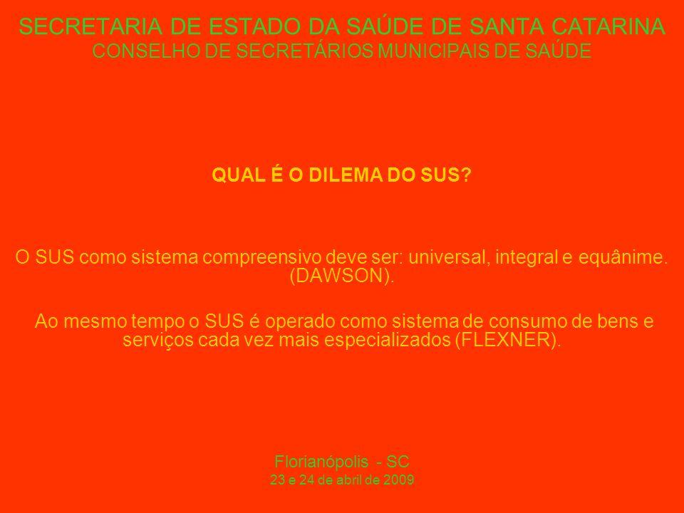 SECRETARIA DE ESTADO DA SAÚDE DE SANTA CATARINA CONSELHO DE SECRETÁRIOS MUNICIPAIS DE SAÚDE QUAL É O DILEMA DO SUS.