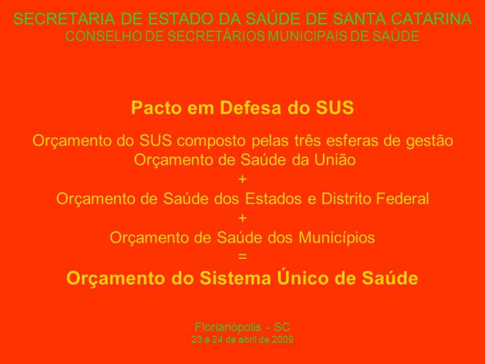 SECRETARIA DE ESTADO DA SAÚDE DE SANTA CATARINA CONSELHO DE SECRETÁRIOS MUNICIPAIS DE SAÚDE Pacto em Defesa do SUS Orçamento do SUS composto pelas três esferas de gestão Orçamento de Saúde da União + Orçamento de Saúde dos Estados e Distrito Federal + Orçamento de Saúde dos Municípios = Orçamento do Sistema Único de Saúde Florianópolis - SC 23 e 24 de abril de 2009