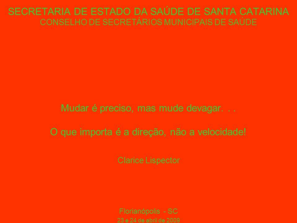SECRETARIA DE ESTADO DA SAÚDE DE SANTA CATARINA CONSELHO DE SECRETÁRIOS MUNICIPAIS DE SAÚDE Mudar é preciso, mas mude devagar...