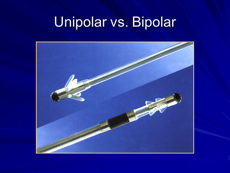 Polaridade Unipolar –Gerador é positivo (ânodo) –Ponta do eletrodo é negativa (cátodo) Bipolar –Anel do eletrodo é positivo (ânodo) –Ponta do eletrodo é negativa (cátodo)