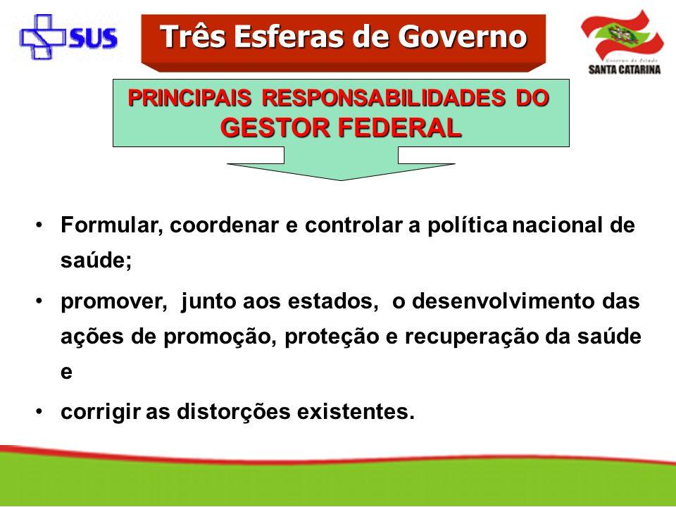 Formular, coordenar e controlar a política nacional de saúde; promover, junto aos estados, o desenvolvimento das ações de promoção, proteção e recuper