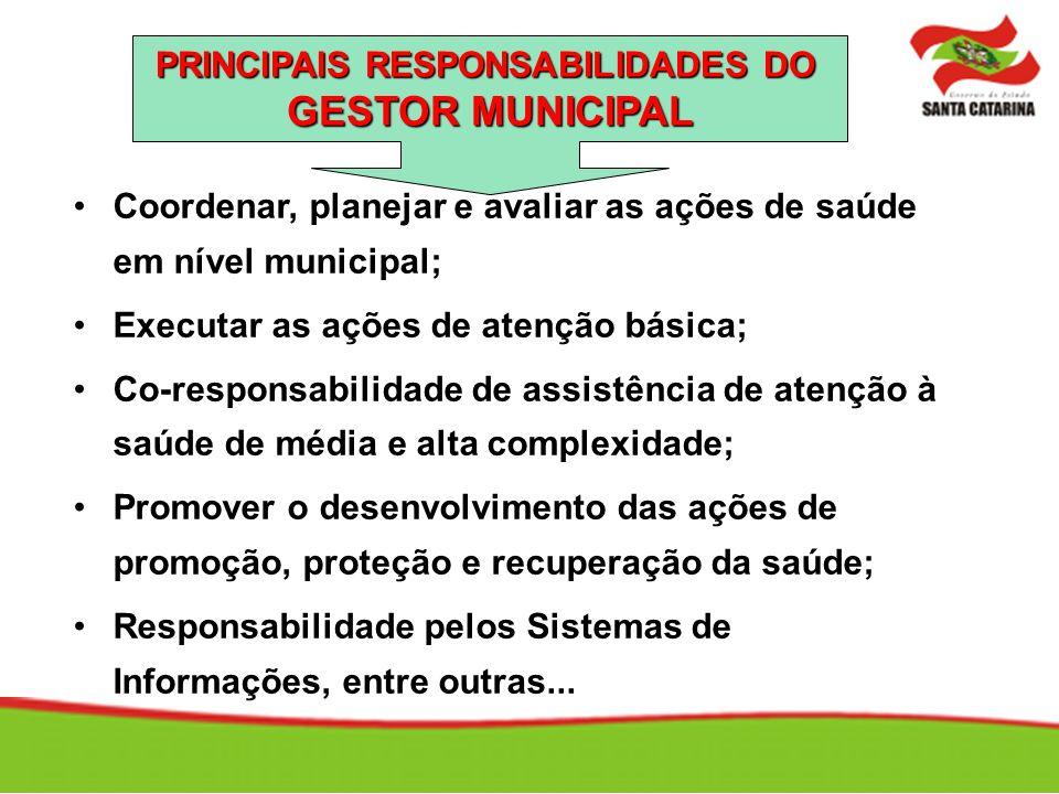 Coordenar, planejar e avaliar as ações de saúde em nível municipal; Executar as ações de atenção básica; Co-responsabilidade de assistência de atenção