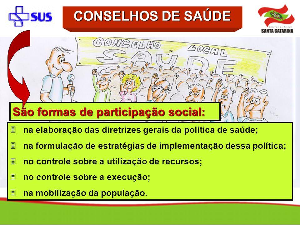 São formas de participação social: 3na elaboração das diretrizes gerais da política de saúde; 3na formulação de estratégias de implementação dessa pol