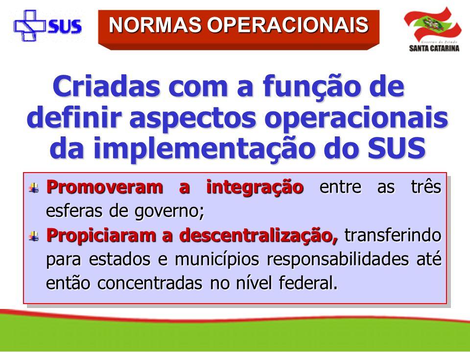 Criadas com a função de definir aspectos operacionais da implementação do SUS Promoveram a integração entre as três esferas de governo; Propiciaram a