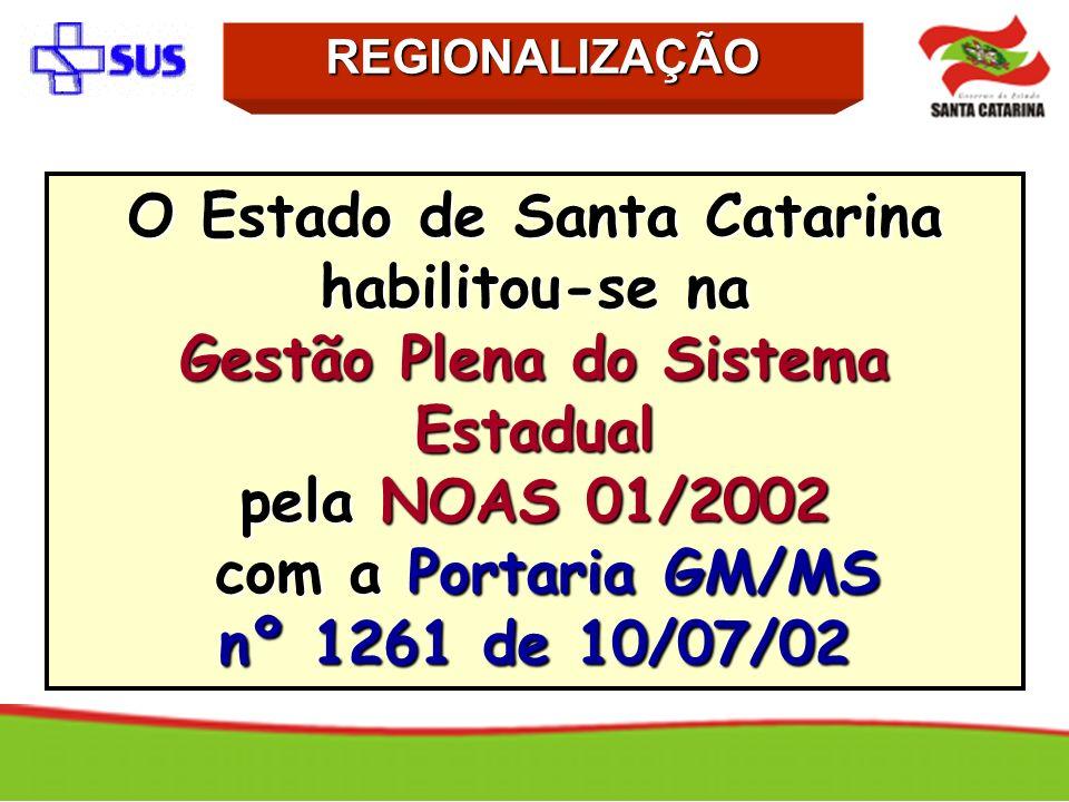 O Estado de Santa Catarina habilitou-se na Gestão Plena do Sistema Estadual pela NOAS 01/2002 com a Portaria GM/MS com a Portaria GM/MS nº 1261 de 10/
