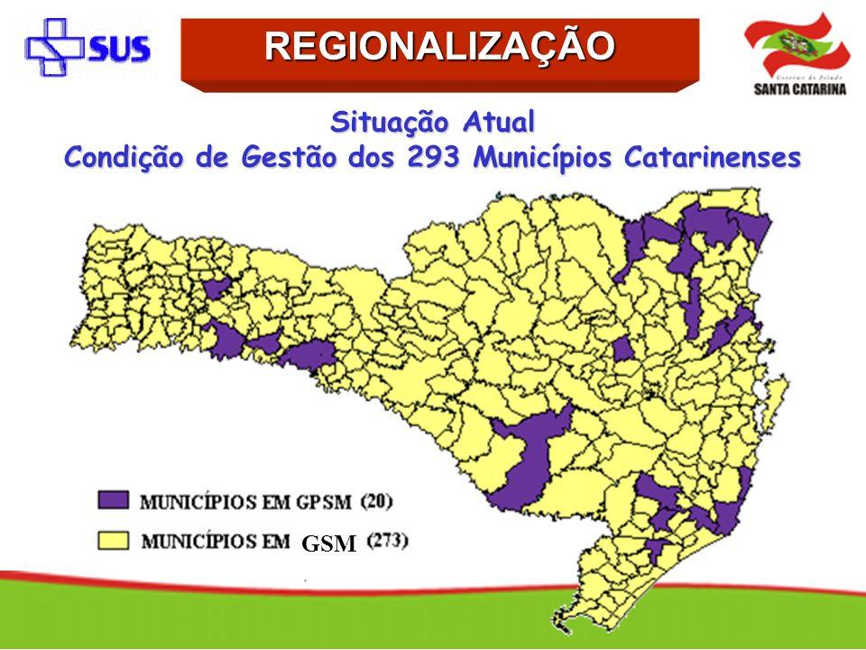 Situação Atual Condição de Gestão dos 293 Municípios Catarinenses REGIONALIZAÇÃO GSM