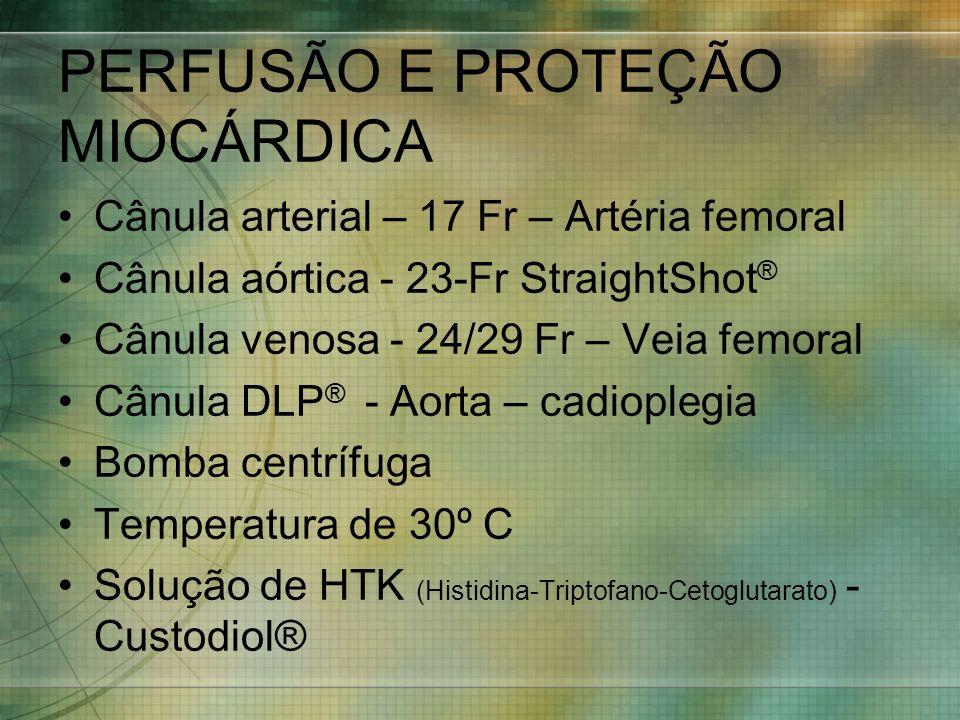 PERFUSÃO E PROTEÇÃO MIOCÁRDICA Cânula arterial – 17 Fr – Artéria femoral Cânula aórtica - 23-Fr StraightShot ® Cânula venosa - 24/29 Fr – Veia femoral