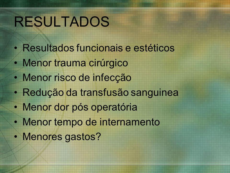 RESULTADOS Resultados funcionais e estéticos Menor trauma cirúrgico Menor risco de infecção Redução da transfusão sanguinea Menor dor pós operatória M