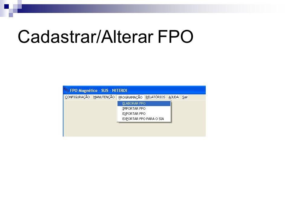 Cadastrar/Alterar FPO