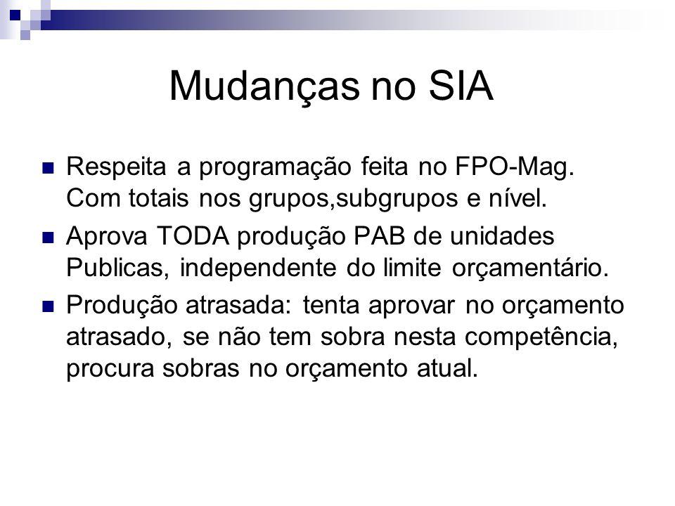 Mudanças no SIA Respeita a programação feita no FPO-Mag. Com totais nos grupos,subgrupos e nível. Aprova TODA produção PAB de unidades Publicas, indep