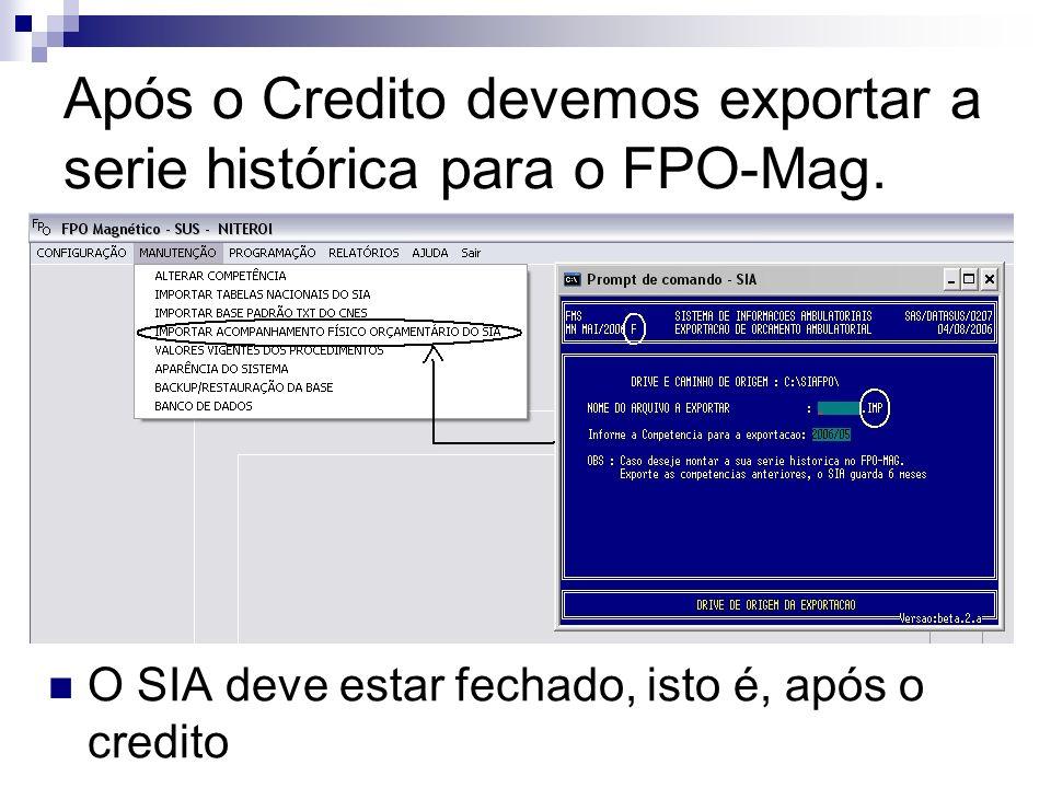 Após o Credito devemos exportar a serie histórica para o FPO-Mag. O SIA deve estar fechado, isto é, após o credito