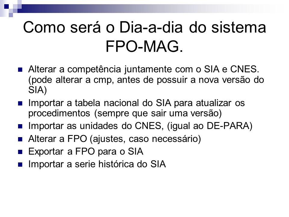 Como será o Dia-a-dia do sistema FPO-MAG. Alterar a competência juntamente com o SIA e CNES. (pode alterar a cmp, antes de possuir a nova versão do SI